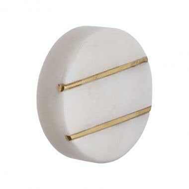 Round Brass Gold Striped White Marble Cabinet Pull Knob 40mm