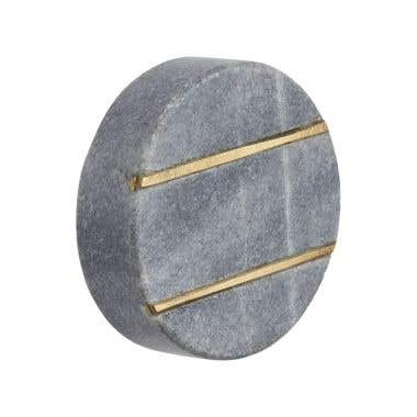Round Brass Gold Striped Grey Marble Cabinet Pull Knob 40mm