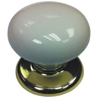 White Colour Ceramic Traditional Round Cabinet Knob