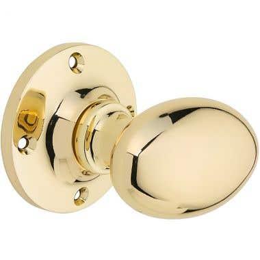 Oval Mortice Door Knob - Brass Plated