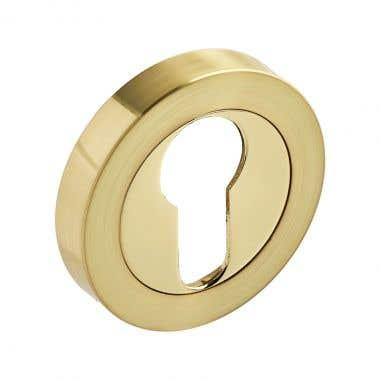 Escutcheon Euro Lock - Dual Tone Brass