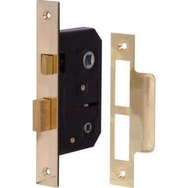 Bathroom Mortice Lock 76mm - Brass Plated