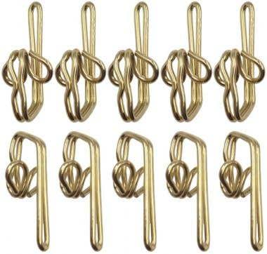 Steel Curtain Header Tape Draper Hooks Brass Plated Pack 100