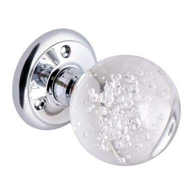 Bubbled Glass Mortice Door Knob - Chrome