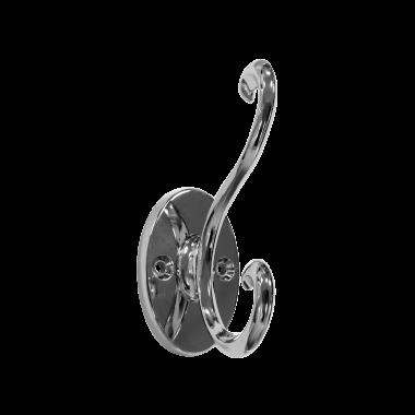 Scroll Hat & Coat Hook - Polished Chrome