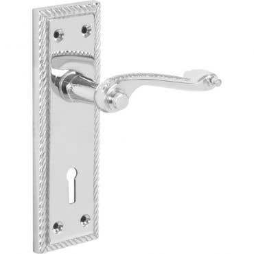 Georgian Scroll Lever Lock Long Backplate Door Handle - Polished Chrome