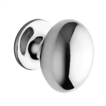 Oval Shaped Cabinet Knob 35mm Polished Chrome