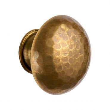 Round Hammered Antique Brass Cabinet Pull Mushroom Knob 38mm