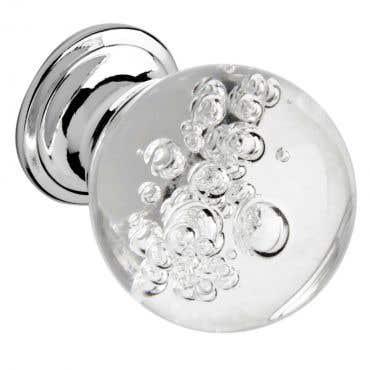 Bubbled Glass Cabinet Knob - Chrome