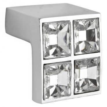 Acrylic Diamond Square Cabinet Knob - Chrome