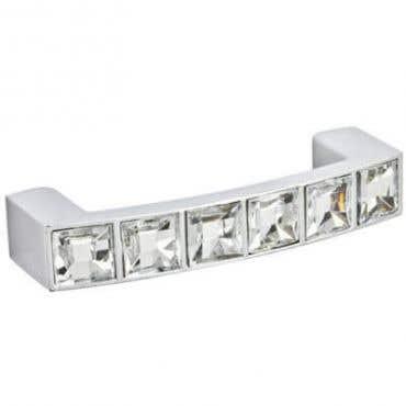 Acrylic Diamond D Cabinet Handle 64mm - Chrome
