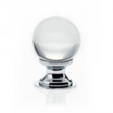 Frost Glass Ball Cabinet Knob - Chrome