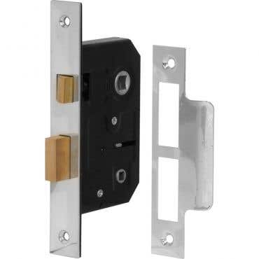 Bathroom Mortice Lock 76mm - Chrome Plated