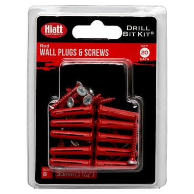 Colour Coded Screws and Wallplugs Red Pack 20