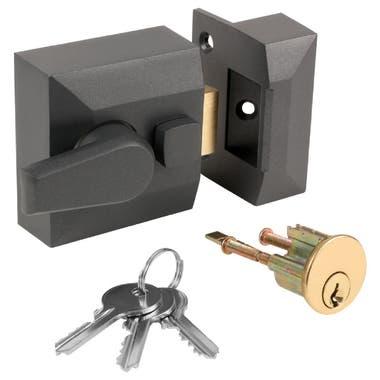 Narrow Double Locking Nightlatch Gunmetal