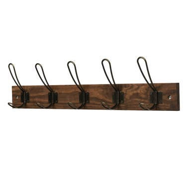 5 Antique Bronze Wire Hooks on Antique Wooden Board - main image