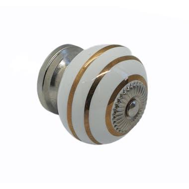 Ceramic Swirl Cabinet Knob 40mm - Gold