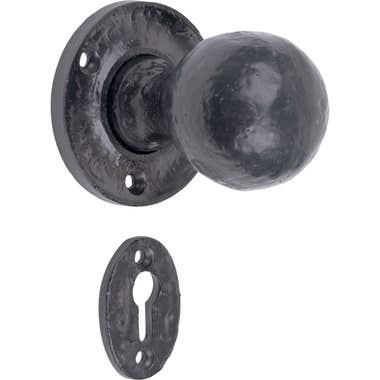 Shropshire Mortice Unsprung Door Knob Rustic Black with a black escutcheon